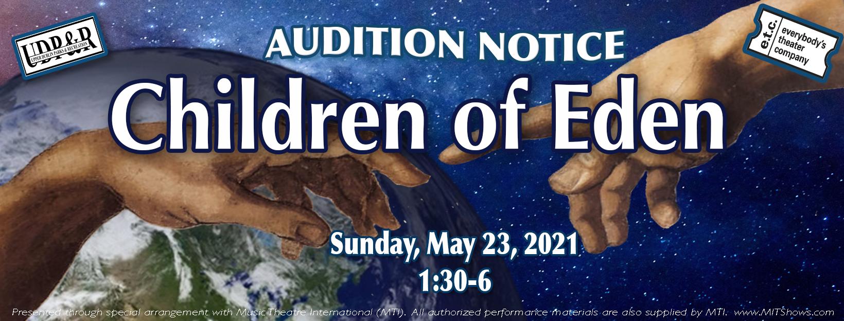 Children of Eden Audition Banner
